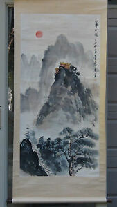 ANTIQUE EARLY 20C CHINESE WATERCOLOR ON PAPER SCROLL