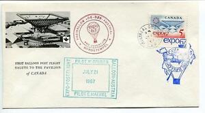 Ordonné 1967 Ballonpost First Post Flight Pro Juventute Aerostato Oe-dzb Expo Canada