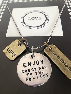 "LOVE ""Enjoy Everyday to Fullest "" Inspirational Romantic Pendant Charm NECKLACE"