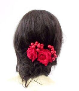 7048213bb 2 x Red Rose Berry Flower Hair Pins Vintage Bridesmaid Clip Wedding ...