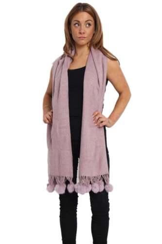 New Womens Plain Wool Scarf Shawl Trim Fur Pom Pom Scarf Winter Warm wrap UK