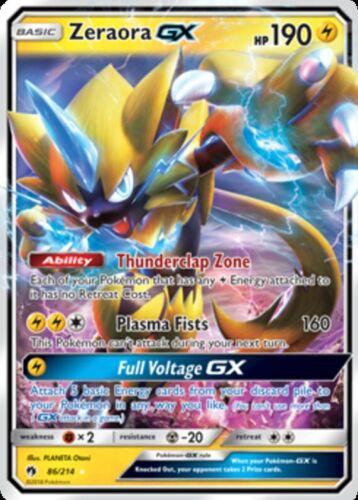 86//214 1 x NM Zeraora GX Ultra Rare Lost Thunder Pokemon TCG