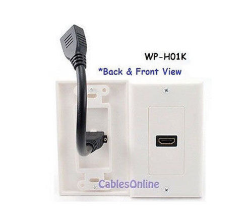 1-Port HDMI Wall Plate w//Pigtail Extension Cable White