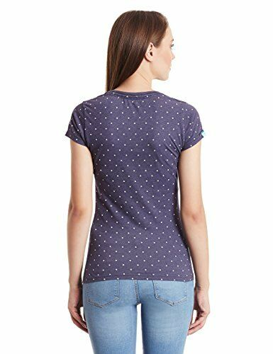 Superdry Womens Vintage Logo Overdyed Dutschke Thé T Shirt Princeton Blue Polka Dot