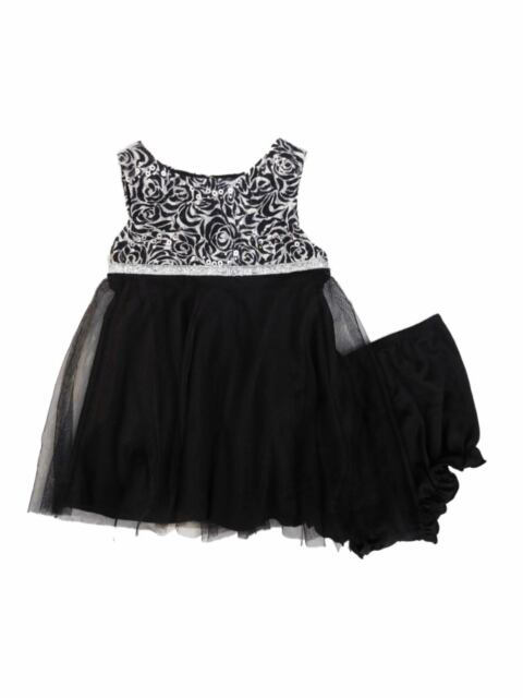 Marmellata Infant Toddler Girls Black Sparkly Sequin Rose Party