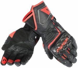 DAINESE-Carbon-D1-long-Racing-Handschuhe-schwarz-rot-L-9-mit-Knoechelschutz