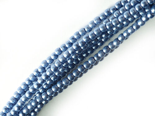 2mm,3mm /& 4mm Sizes Cornflower Blue Czech Round Glass Pearl Strands
