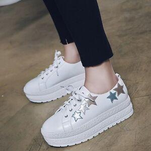 3f02f29e2641 Chic Womens Metallic Stars Lace Up Round Toe Platform Shoes Fashion ...