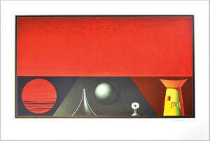Rudolf-Hausner-1914-1995-sign-Abendlandschaft-Evening-landscape-ca-1975