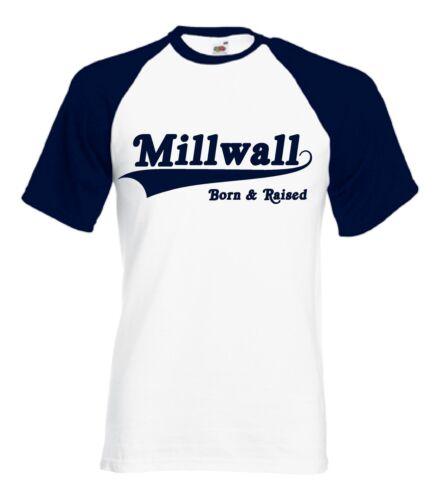 Football t shirt club Millwall Born /& Raised Retro Baseball Style T-Shirt