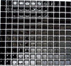 Mosaïque carreau céramique noir brillant piscine mur bain 18-0302_f ...