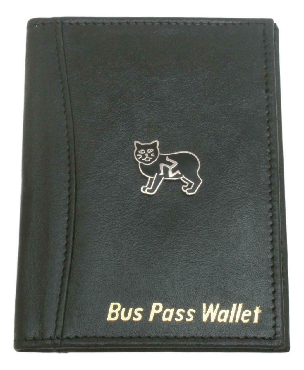 Manx Cat Leather Bus & Train Pass ID Holder & Wallet In Black 476