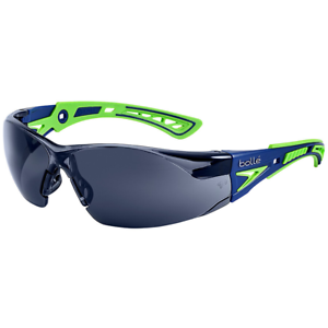 Bolle-Rush-Plus-Safety-Glasses-Blue-Green-Temples-Smoke-Anti-Fog-Lens