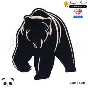 Grizzly-Bear-Black-Bear-Embroidered-Iron-On-Sew-On-Patch-Badge-For-Clothes-etc