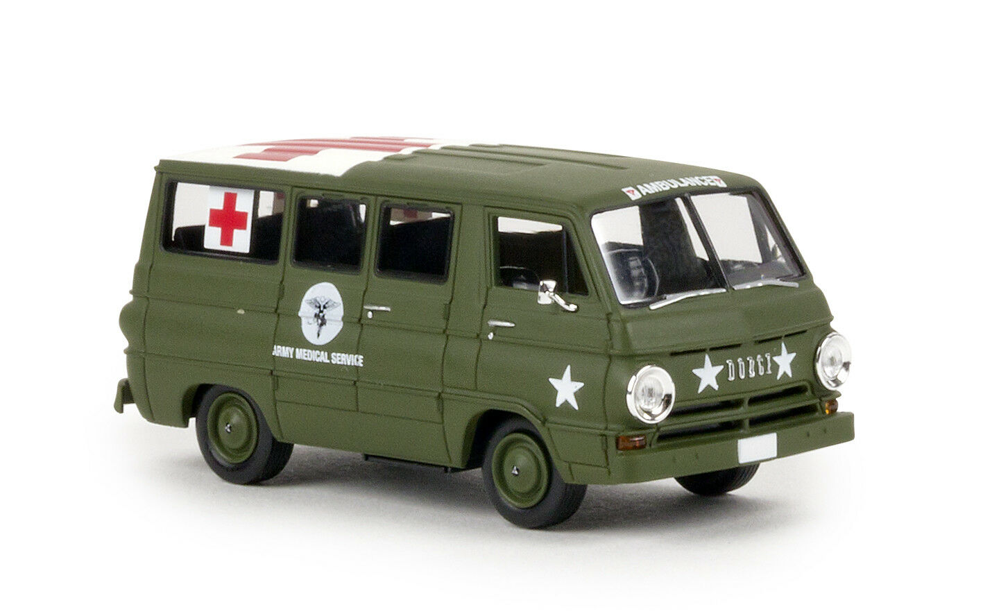 Dodge a 100 Bus Us Army Medical Service  , H0 Car Model 1 87, Brekina 34322, Td