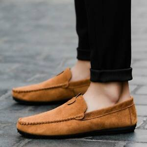 Fashion-Mens-Casual-Driving-Loafers-Suede-Leather-Moccasins-Slip-On-Penny-Shoes