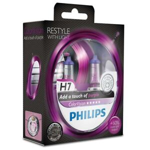 Philips-H7-Color-Vision-Purple-Halogen-Scheinwerferlampen-Lila-Lampe-SET