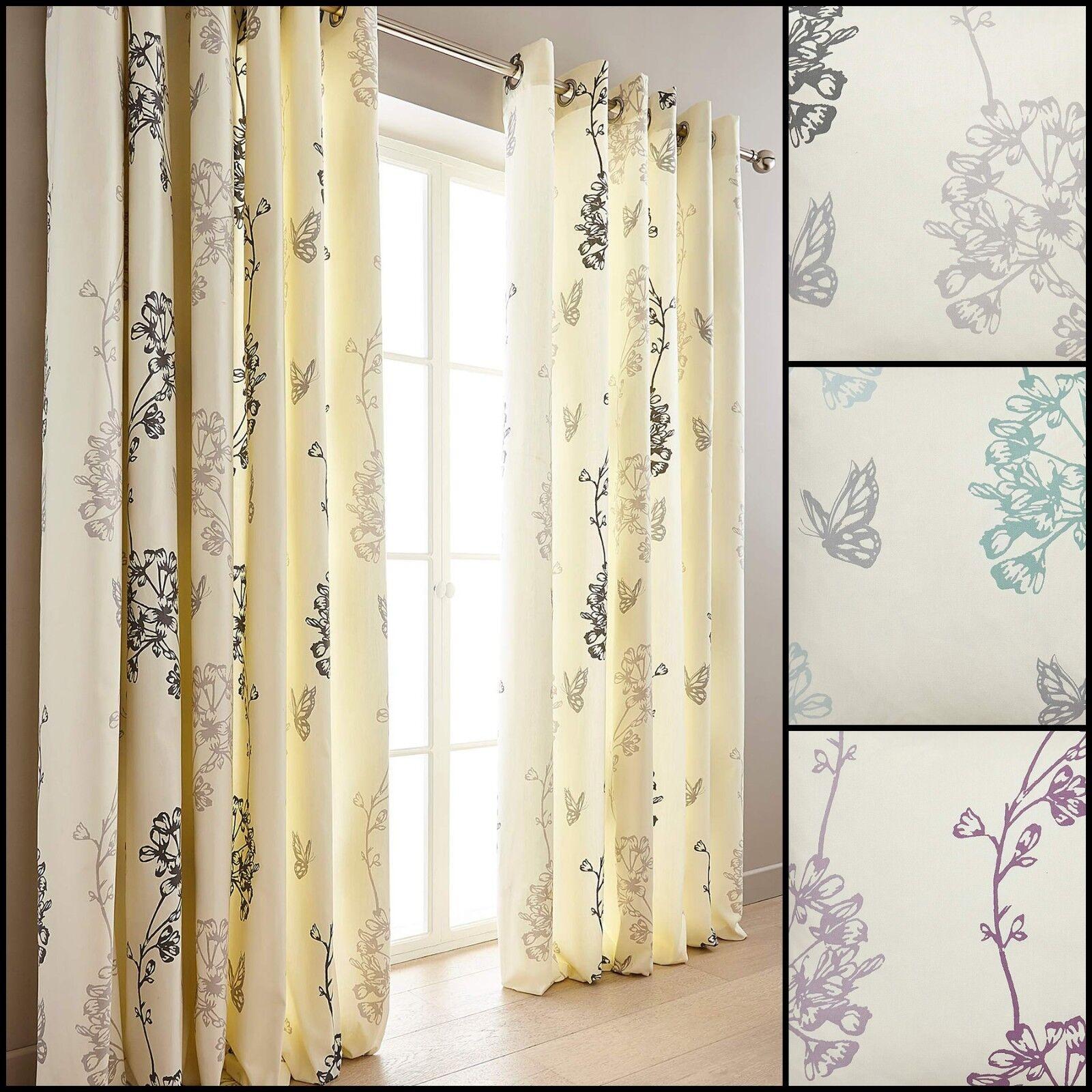 Thea Cortinas CON ANILLOS SUPERIORES Floral Floral rango (par)  elección de tres Colors