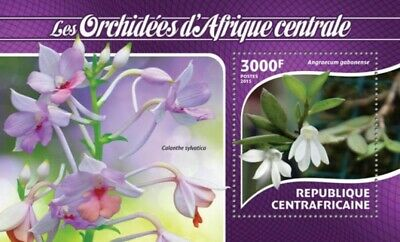 2015 Orchids On Stamps Souvenir Sheet Central Africa 3h-884