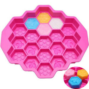 19-Cell-Silicone-Bee-Honeycomb-Cake-Chocolate-Soap-Candle-Bakeware-Mold-Mould