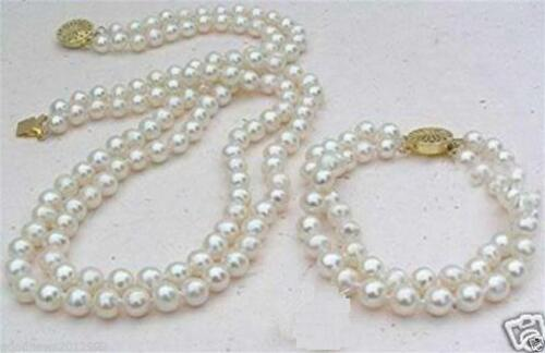 Perfect set of double strands 8-9mm Akoya white pearl necklace bracelet