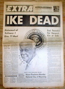 Image result for eisenhower died newspaper headlines