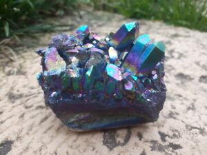 cristalloterapia DRUSA AQUA AURA quarzo minerale VARIANTE ARCOBALENO collezione