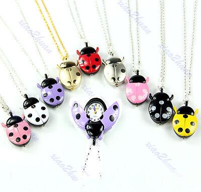 Kids Gift Lovely Ladybug Shaped Necklace Chain Pocket Quartz Pendant Watch