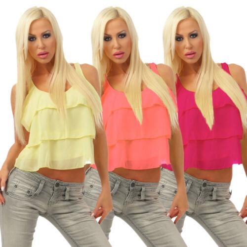 5215 Damen Top Bluse Layer-Optik Chiffon Blusentop Ärmellos Bauchfrei