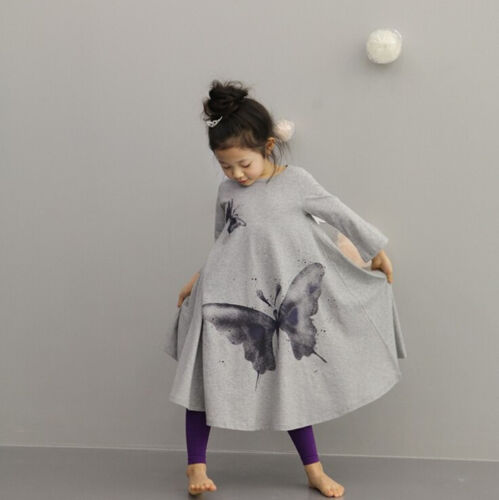 1pc Girl Kids Children Baby Bohemian Butterfly Dresses Dancewear Clothing Gray