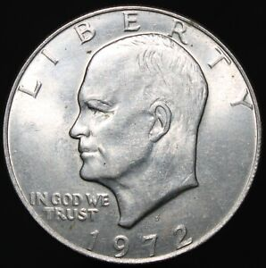 1972-U-S-A-Eisenhower-One-Dollar-Cupro-Nickel-Clad-Copper-Coins-KM-Coins