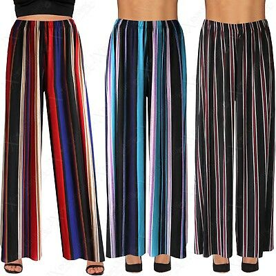 Original Ladies Striped Print Ribbed Palazzo Trousers Womens Long Flared Wide Leg Pants Waren Des TäGlichen Bedarfs