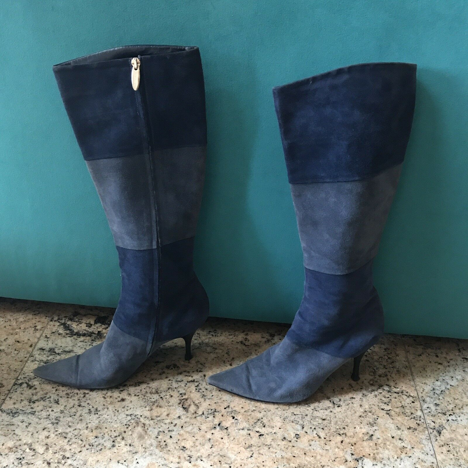 sergio rossi sexy boho tall gogo blue suede boots 39 us size 8.5