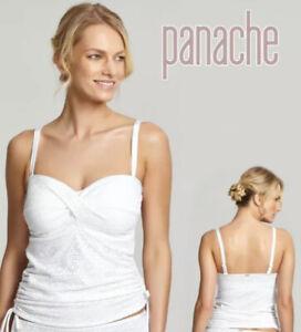 Size 32DD Panache Anya Crochet Underwired Bandeau Tankini Top White Free Postage