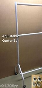 """HEAVY DUTY WHITE GLOSS HANGING TALL DOUBLE CLOTHES RAIL GARMENT 24"""" EXT NEW"""