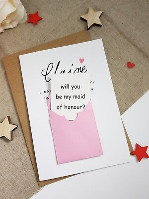 THANK YOU BRIDESMAID CARD PERSONALISED FLOWER GIRL MAID HONOUR BOUQUET MULTI A5