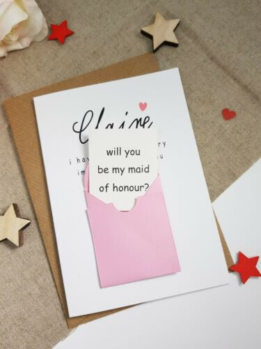 will you be my bridesmaid flower girl maid of honour proposal card envelope WP11