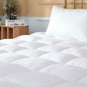 Mattress-Pad-Cover-Topper-Protector-Quilted-Fitted-King-Queen-Full-Twin-Size-Top