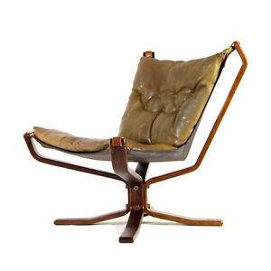 Retro-Vintage-Leather-Falcon-Lounge-Chair-Armchair-Sigurd-Ressell-Danish-60s-70s