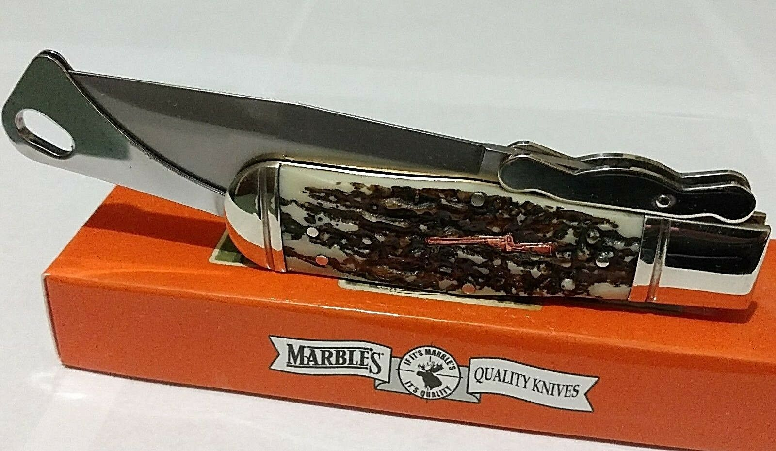 MARBLES STAG BOWIE HUNTING POCKET KNIFE W/ CUSTOM RIFLE SHIELD !!!