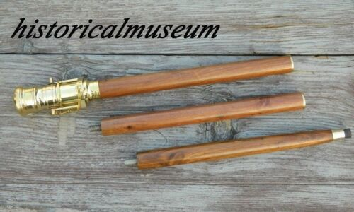 Wooden Walking Stick Cane with Foldable Spyglass Brass Vintage Telescope Handle