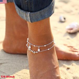Women-Double-Ankle-Bracelet-925-Silver-Anklet-Foot-Jewelry-Beach-Chain-US