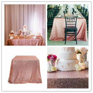 "50""x50"" Blush Rectangle Sequin Tablecloth Table Cover For Wedding/Event/Party"