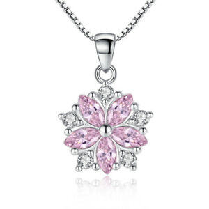 925-Sterling-Silver-Pink-Crystal-Flower-Pendant-Necklace-Women-Fashion-Jewelry