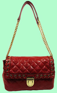 698cd28a4e40e7 Image is loading MICHAEL-KORS-Grommet-Hippie-Sloan-Dark-Red-Quilted-