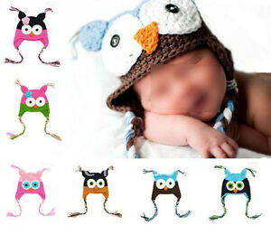 Knitted-Owl-Style-Hats-Newborn-Baby-Kids-Infant-Cap-Beanies-Handmade-Winter-Warm
