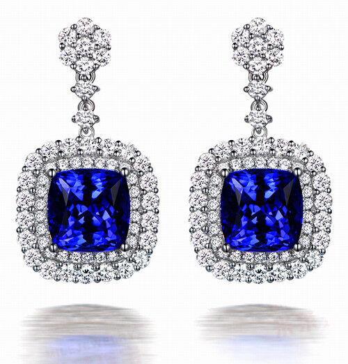 Natural Blue Sapphire Diamond luxury Earring 18K White Gold Consumer-design