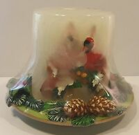 Christmas Cardinal Bird Candle & Pinecone & Holly Berry Stand Sealed By Ganz