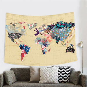 World map wall tapestry floral wall hanging tapestry home decor image is loading world map wall tapestry floral wall hanging tapestry gumiabroncs Image collections