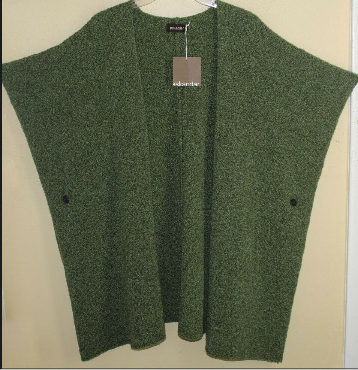 NWT Eskandar O S Grass Wool Cashmere Boucle LONG Tunic Tabard Cardigan Sweater